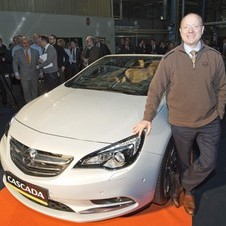 Opel Chairman and GM Vice Chairman Steve Girsky drove the car off the line
