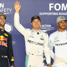 Nico Rosberg was joined on the podium by Daniel Ricciardo and Lewis Hamilton