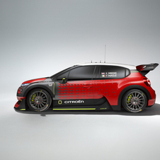 The new C3 WRC for the 2017 season has a more curved and muscular design than its predecessor DS3 WRC