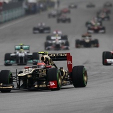 Romain Grosjean at the Malaysian Grand Prix where he qualified 7th but did not finish