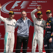 Rosberg and Verstappen finished in second and third place