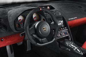 The interior is mostly carbon fiber covered in Alcantara
