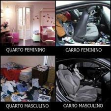The differences between a man and woman's car and bedroom.