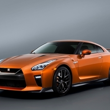 "The front end of the new GT-R has undergone a complete makeover with new chrome matte finish ""V-motion"" grille"