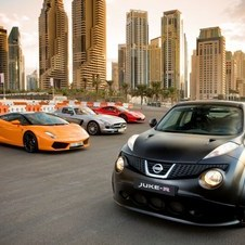 The video showed the Juke-R racing against Mercedes, Ferrari and Lamborghini