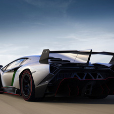 The engine is a more powerful version of the Aventador's V12