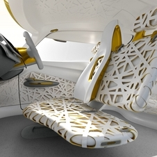 The vehicle's seats, suspended over a solid base in white, give an impression of lightness