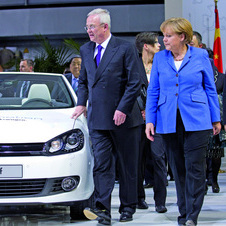Volkswagen showed an early version of the e-Golf to German Chancellor Angela Merkel last year