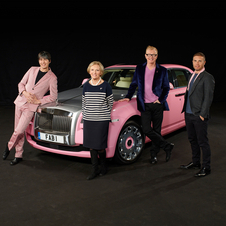The car is based on an extended-wheelbase Rolls-Royce Ghost and painted pink to help breast cancer