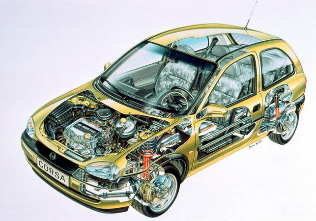 This blueprint of the Corsa B shows the technology below the body panels.