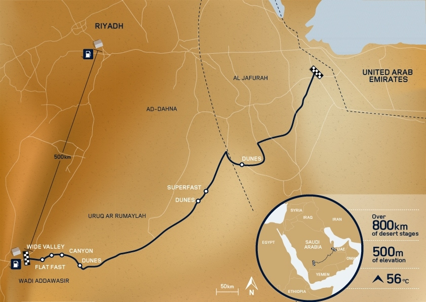 The route crossed 849km of the desert